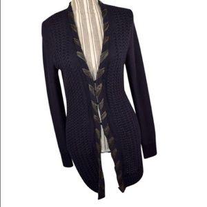 ELIE TAHARI Sweater - Leather trim • Black • SP